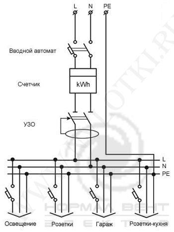 электрическая схема подключения светильника